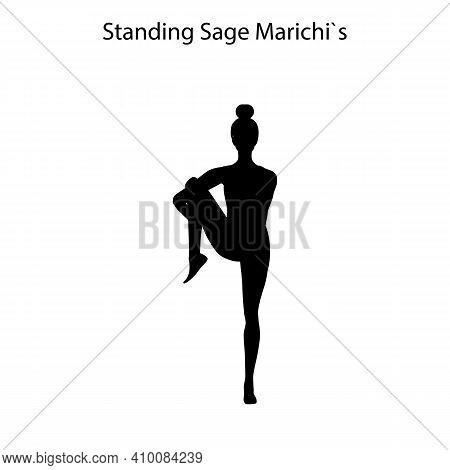 Standing Sage Marichis Pose Yoga Workout Silhouette
