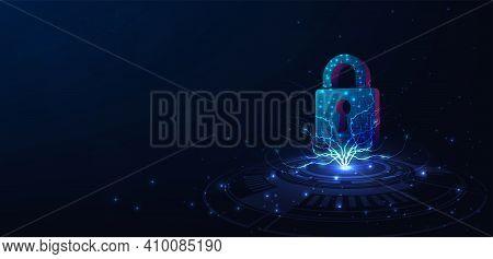 Cyber Security Concept Design. Padlock Lock On Digital Screen, 3d Render Padlock Protection Digital