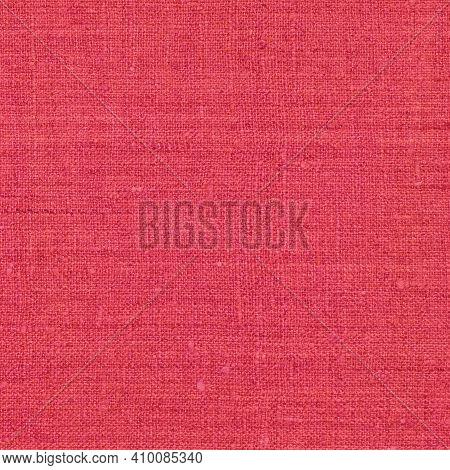 Natural Light Vibrant Wine Red Rustic Flax Fiber Linen Fabric Swatch Texture Horizontal Pattern, Ver