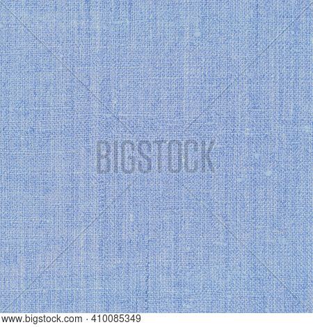 Natural Light Pastel Pale Blue Rustic Flax Fiber Linen Fabric Swatch Texture Vertical Pattern, Horiz