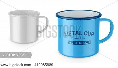 Glossy White Enamel Metal Cup. Photo-realistic Packaging Mockup Template With Sample Design. Vector
