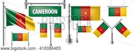 Vector Set Of The National Flag Of Cameroon In Various Creative Designs