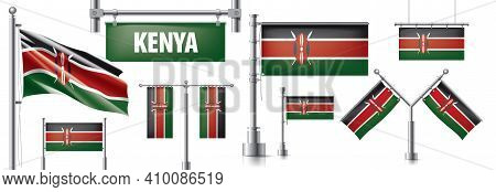 Vector Set Of The National Flag Of Kenya In Various Creative Designs