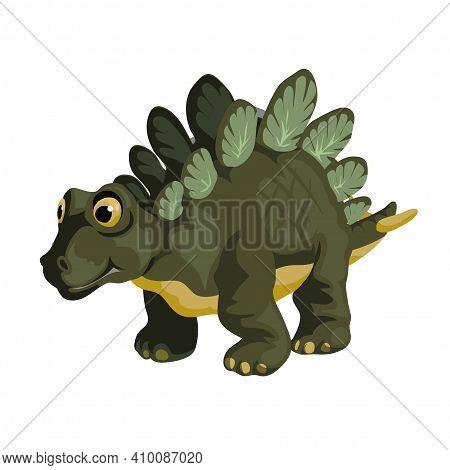 Little Stegosaurus. Cartoon Dinosaur Picture. Cute Dinosaurs Character. Flat Vector Illustration Iso