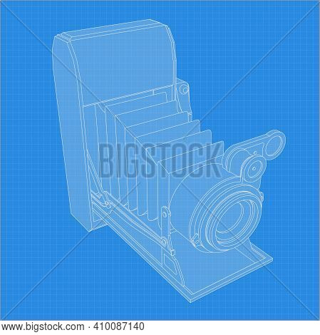 Retro Camera Drawing. Different Angle And 3D Projection Of Retro Camera On Blueprint. Vintage Photoc