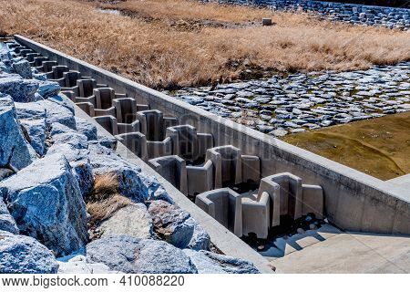 Spillway Used To Aerate River In Dry Riverbed During Drought.