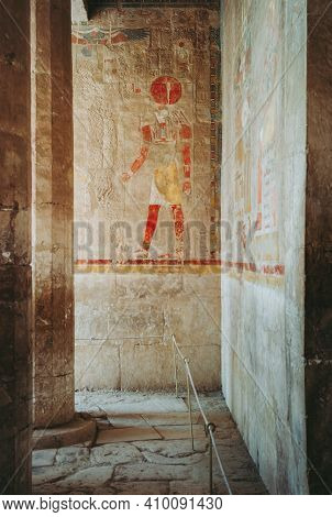 Ra-horakhty Polychrome Bas-relief At The Anubis Chapel In The Mortuary Temple Of Queen Hatshepsut In