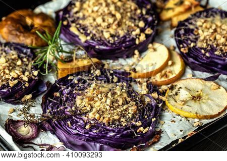 Autumn Dish Of Red Cabbage Baked With Nuts, Quince And Apples, Vegan Roasted Red Cabbage Steaks, Foo