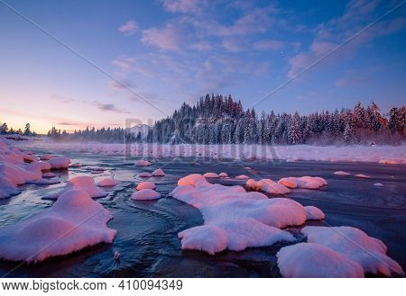 Winter Dawn In Mountains. Mountain Landscape With River Covered With Ice. Winter Scenic Background W