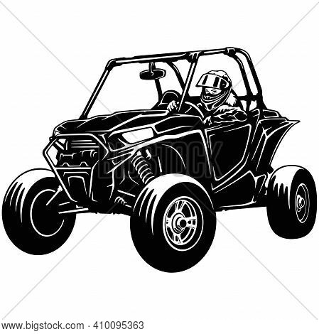 Buggy Atv Quad Bike And Sexy Girl - Extreme Dirt Bike 4x4 - Clipart, Vector Design