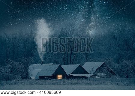 Night Winter Landscape With Starry Sky. Country Houses At Frosty Christmas Night. Rural Landscape. F
