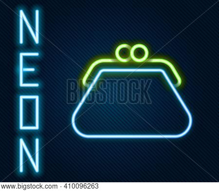 Glowing Neon Line Clutch Bag Icon Isolated On Black Background. Women Clutch Purse. Colorful Outline