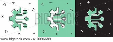 Set Algorithm Icon Isolated On White And Green, Black Background. Algorithm Symbol Design From Artif