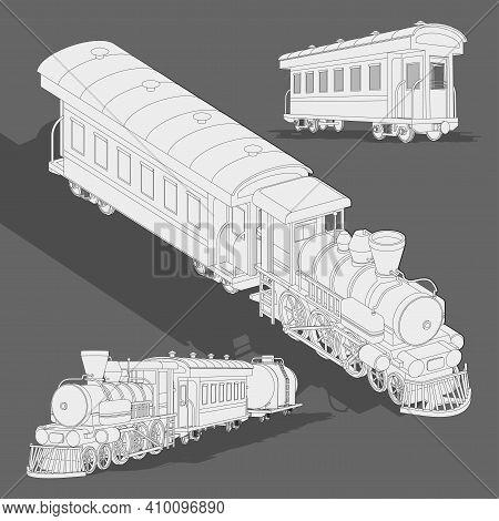 Realistic Steam Train Sketch Template.vector Coloring Page 3d Model Train. Cartoon Vector Illustrati