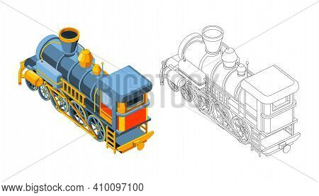 Vector Coloring Page With 3d Model Train. Isometric Front View.vintage Retro Train Graphic Vector. I