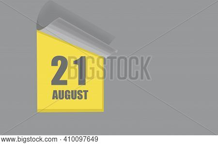 August 21. 21-th Day Of The Month, Calendar Date. Gray Numbers In A Yellow Window, On A Solid Isolat