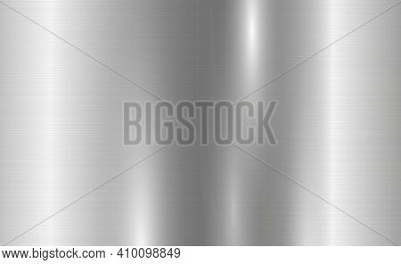 Texture Panorama Of Silver Metal With Reflection