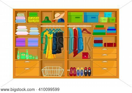 Inner Space Of Closet Or Wardrobe Isolated On White Background. Clothes Or Apparel Hanging On Hanger