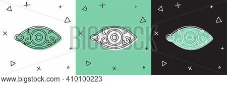 Set Reddish Eye Due To Viral, Bacterial Or Allergic Conjunctivitis Icon Isolated On White And Green,