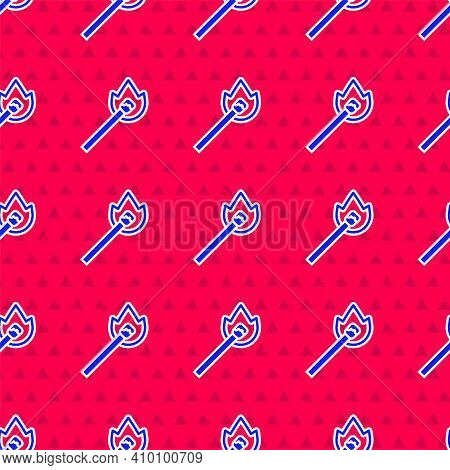 Blue Burning Match With Fire Icon Isolated Seamless Pattern On Red Background. Match With Fire. Matc