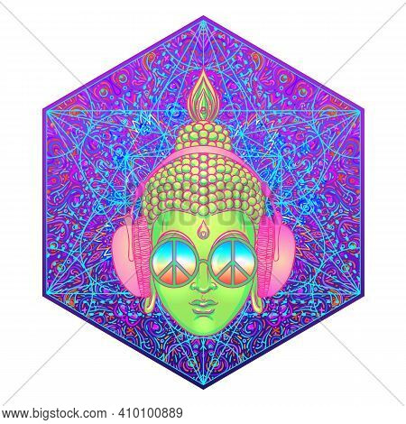 Sitting Buddha Over Colorful Neon Background. Vector Illustration. Psychedelic Mushroom Composition.