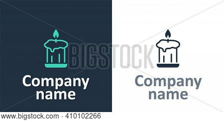 Logotype Burning Candle In Candlestick Icon Isolated On White Background. Old Fashioned Lit Candle.
