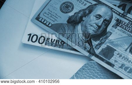Us 100 Dollars Bill And 100 Euro Banknote Put Together. International Trade Business Concept.