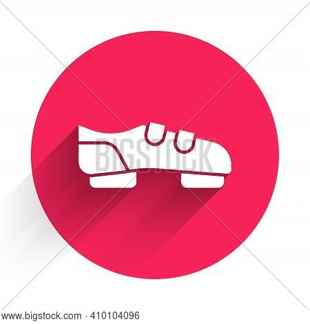 White Triathlon Cycling Shoes Icon Isolated With Long Shadow. Sport Shoes, Bicycle Shoes. Red Circle