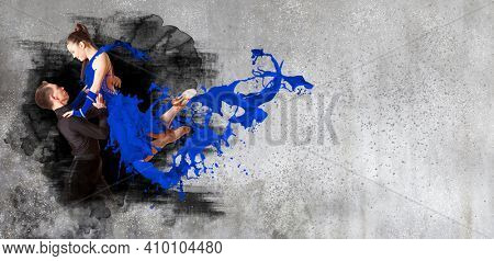 Pair of dancers dancing ballroom on wall background. Horizontal copy space background