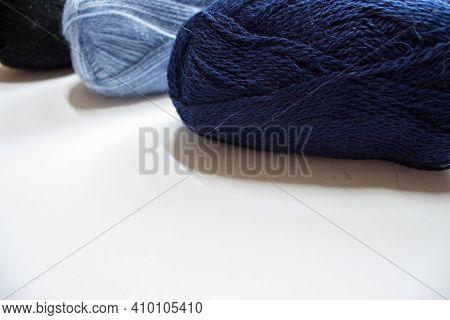 Knitting Needles, Colorful Threads. Selection Of Colorful Yarn Wool On Shopfront. Knitting Backgroun
