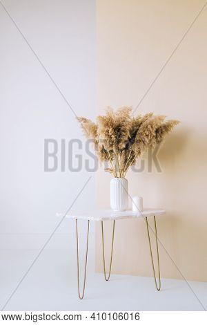 Dried Flowers Spikelets Pampas In White Vase On On A Marble Table, White And Beige Background, Home