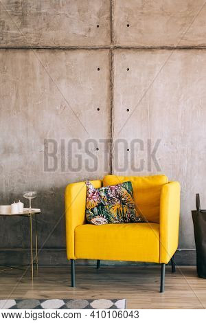 Interior Of Living Room With Large Yellow Armchair And Table, Home Comfort, Interior Details.