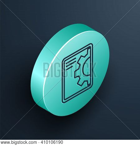 Isometric Line Software, Web Development, Programming Concept Icon Isolated On Black Background. Pro