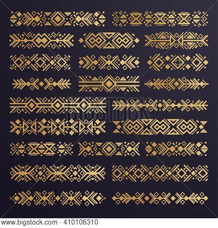 Aztec Vector Elements. Set Of Ethnic Ornaments. Tribal Design, Geometric Symbols For Border, Frame,