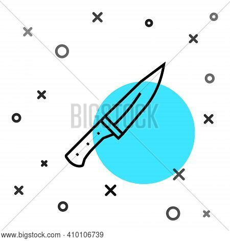 Black Line Meat Chopper Icon Isolated On White Background. Butcher Knife. Kitchen Knife For Meat. Bu
