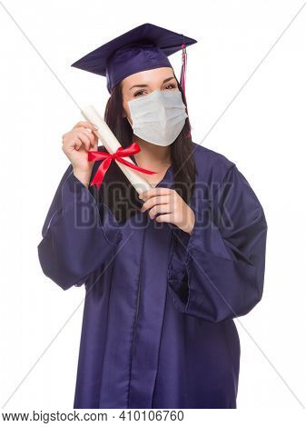 Graduating Female Wearing Medical Face Mask and Cap and Gown  Isolated on a White Background.