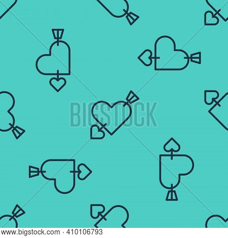 Black Line Amour Symbol With Heart And Arrow Icon Isolated Seamless Pattern On Green Background. Lov