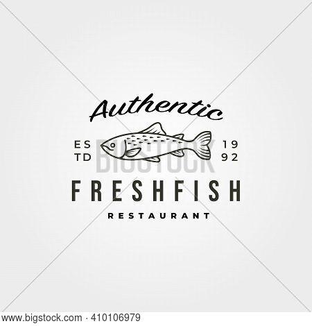 Vintage Fish Icon Logo Vector Minimal Symbol Illustration Design