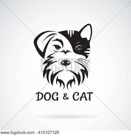 Vector Of Dog And Cat Face Design On A White Background. Schnauzer. Pet. Animal. Easy Editable Layer