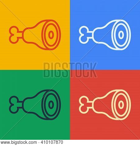 Pop Art Line Chicken Leg Icon Isolated On Color Background. Chicken Drumstick. Vector