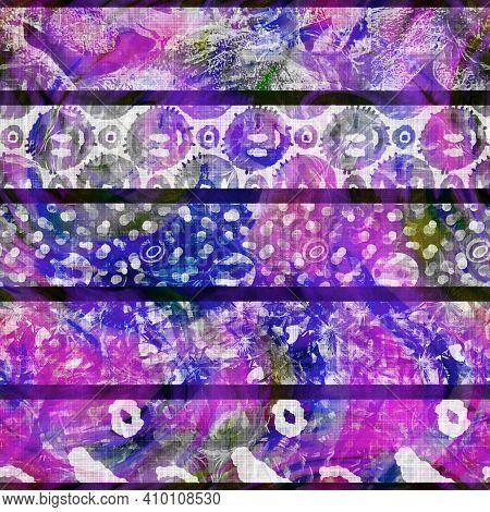 Rainbow Boho Summer Patchwork Stripe Woven Texture. Grunge Vintage Printed Colorful Cotton Textile E