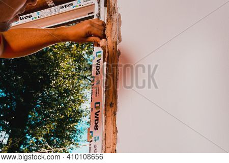 Dolyna, Ukraine July 31, 2020: Installation Of A Plastic Window, Windows From The Wds Company, Repla