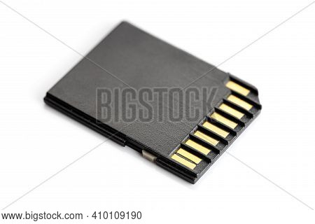 Sd Memory Card Isolated On White Background. Photographic Equipment