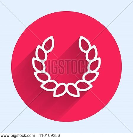 White Line Laurel Wreath Icon Isolated With Long Shadow. Triumph Symbol. Red Circle Button. Vector