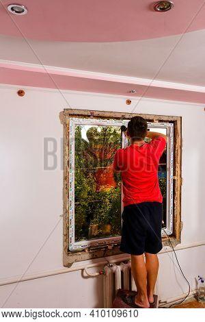 Dolyna, Ukraine July 31, 2020:, Windows Of The Wds Company, Energy-saving Windows, Installation Of A
