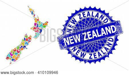 New Zealand Map Template. Splash Mosaic And Distress Mark For New Zealand Map. Sharp Rosette Blue Ma