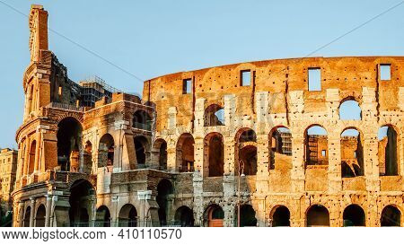 Colosseum In Rome, Italy, Europe. It Is Main Travel Attraction Of Rome. Scenic View Of Rome With Col