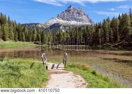 Stunning View Of The Lake Misurina (lago Di Misurina) National Park Tre Cime Di Lavaredo. Italy