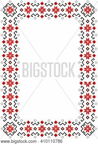 Bulgarian Balkan National Folklore Embroidery Style Red, White And Black Ornamental Border Vector Fr