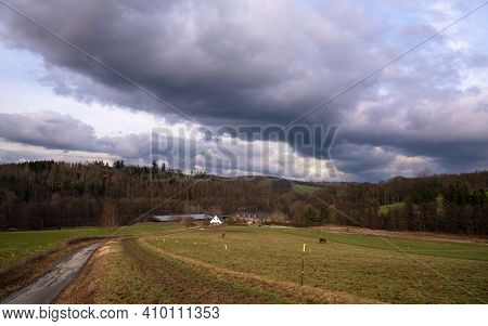 Panoramic Image Of Scenic View On A Cloudy Day, Bergisches Land, Odenthal, Germany